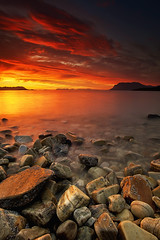 LATE NIGHT LIGHT                         [EXPLORED JULY 30] (~~~johnny~~~) Tags: longexposure light sunset sea summer sky orange shells seascape mountains seaweed t