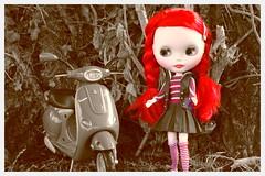 Vintage Miss Scarlett (LadyGuinevere!) Tags: red scarlett vintage vespa ooak navy barbie skipper redhead blythe sailor custom miss sbl pcm missscarlett shipahoy vintageskipper precociouscanymushroom