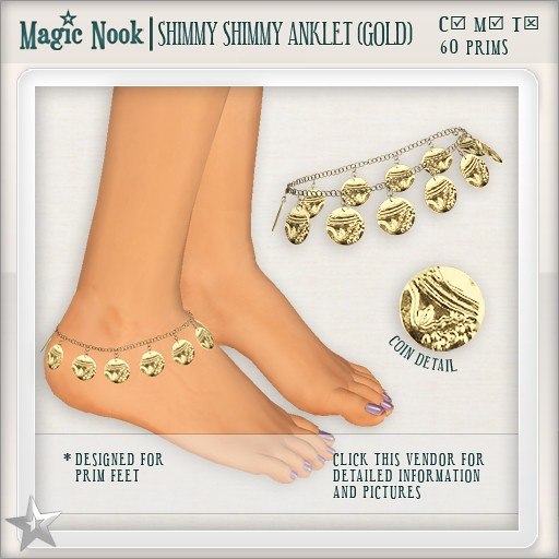 [MAGIC NOOK] Shimmy Shimmy Anklet (Gold)