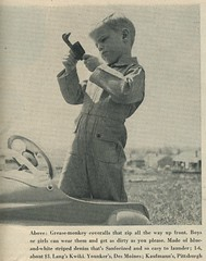 1953 boy's fashion - Grease Monkey overalls (genibee) Tags: boy fashion vintage magazine toy clothing fifties play stripes 1950s overalls denim mechanic wrench 1953 overall greasemonkey sanforized