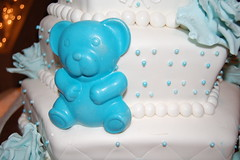 Christening Cake 2 (jen_dsilva) Tags: chocolatecake redvelvetcake chocolatecross vanillacake chocolateteddy goldcross babyboychristeningcake edibleblueroses