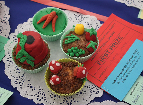 Decorated veg plot themed cupcakes