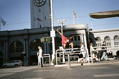 yeah bro (Terry Barentsen) Tags: sf sanfrancisco california ca color film cali zeiss island bay fuji skateboarding super clocktower ollie skate carl bayarea 400h yashicat4 terryb wwwterrybarentsencom terrybarentsen