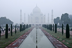 A misty dawn at Taj Mahal, Agra, Uttar Pradesh, India (fabriziogiordano23) Tags: trip travel india holiday water misty fog sunrise reflections dawn asia alba foggy tajmahal sacra journey indie 1001nights nebbia acqua riflessi viaggio soe tomba vacanza indland  uttarpradesh   meraviglia  beautifulphoto   flickraward  fabulousphoto flickrestrellas  capturethefinest flickrunitedaward ringexcellence flickrtravelaward aboveandbeyondlevel1 magicmomentsinyourlifelevel1
