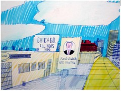 Wesley Willis: Roosevelt, Clinton, and Canal, 1990: Earl Scheib Detail (danxoneil) Tags: wesleywillis
