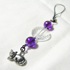 Purple kitty cell phone charm