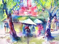 rue de l'curie / street of the stable (chrisaqua47) Tags: street shadow tree caf watercolor painting aquarelle ombre peinture watercolour acuarela rue arbre aquerello flickrunitedwinner