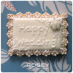 "LACY COOKIE  ""HAPPY WEDDING"" (rosey sugar) Tags: pink flowers wedding roses party flower miniature cookie lace weddingcake decoration royal mini sugar celebration icing piping marieantoinette petit favour royalicing sugarcraft sugarflowers decorativecookie"
