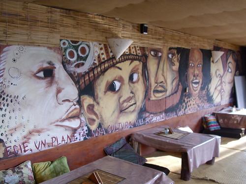 Guatemalan Art - Mural at Miel Y Cafe in Quetzaltenango, Guatemala, Central America