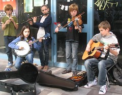 young buskers 2 (jackeeadio) Tags: ireland girls boys guitar sandals banjo belfast flute sneakers jeans violin buskers northernireland fiddle whistle ulster traditionalirishmusic
