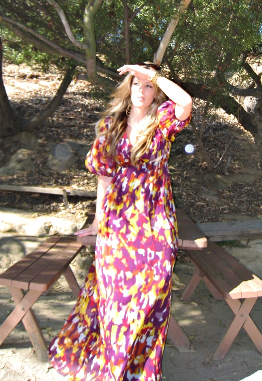 orbs+long flowy dress+mullholland drive+picnic table