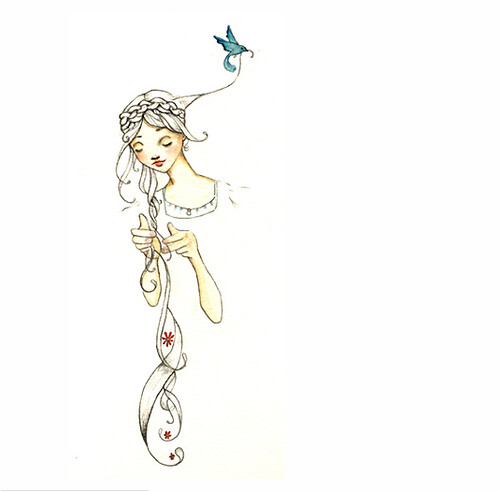 HeyAbigail, flickr, illustration, bird, rapunzel, watercolor, pencil, art, fairytale, drawing, hair, whimsical, beautiful