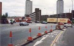 Cambridge Street, Glasgow 1993 (aqualite) Tags: city scotland traffic glasgow centre transport 1990s 90s strathclyde