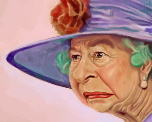 digital caricature of Queen Elizabeth II - 2 small