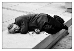 Sleeping Beauty (Bob the Binman) Tags: sleeping monochrome blackwhite poland warsaw asleep tramp vagrant nikond90