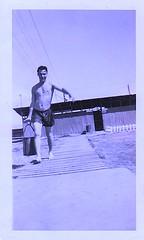 1950s Shirtless Man On Beach With Water Pail vintage photo (Christian Montone) Tags: shirtless summer sunlight men b