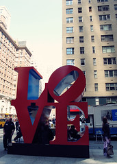 LOVE in New York (SOMETHiNG MONUMENTAL) Tags: street city red people sculpture newyork art love canon buildings moma museumofmodernart g11 robertindiana somethingmonumental mandycrandell