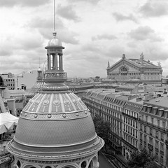Opera (JanneM) Tags: roof bw paris france 120 film mediumformat view jan d76 mat cupola hp5 mf 800 ilford yashica janne plantain moren janmoren