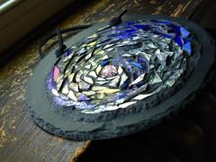 47  49/365 a moon spiral (stratoz) Tags: blue moon art glass silver spiral mosaic crafts arts craft mandala glowing slate awe base cosmos sparkling grout mosaicist margaretalmon