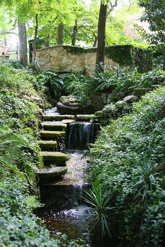 Hegi Garden waterfall and bridge