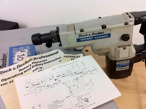 Vintage Power Tool - Black & Decker P80-38 Rotary Hammer Drill