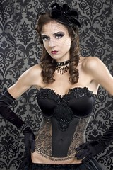 Rebecca 9/19 (Anthony Ryan Photography) Tags: beauty fashion necklace model glamour veil lace gloves corset bodypainting brunette cleavage bodyart pinup hollywoodlighting veiledhat anthonyryanphotography