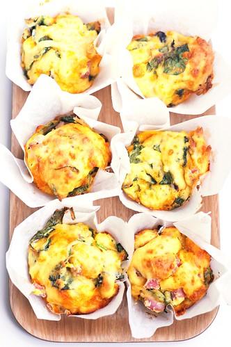 Ham Cheese Mushroom Spinach Muffins