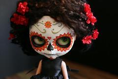 blythe calavera 011 (Kittytoes) Tags: dayofthedead skull doll sugar diadelosmuertos blythe commission calavera melancholykitties