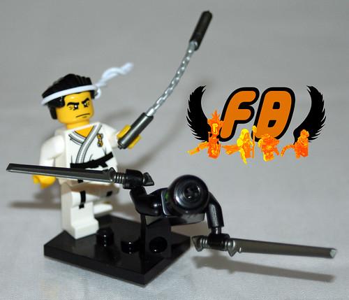 Ninja versus Electronic Samarai - with BrickArms Nunchucks and Tac Sword 2