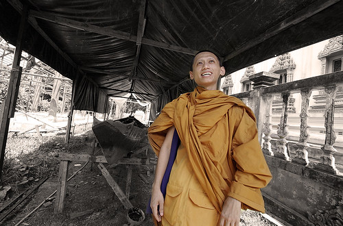 Monk at Tha Reua temple, Phuket