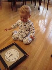 Zach and the 'Tick-Tock' (Mike, Julia, Zach, Pat and Baby Matt) Tags: clock zachy ticktock