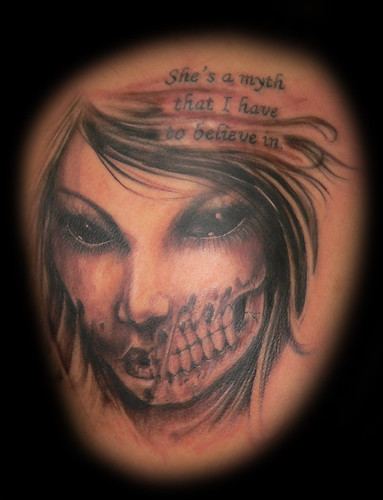 Rotted face zombie chick tattoo Really what more do i have to say