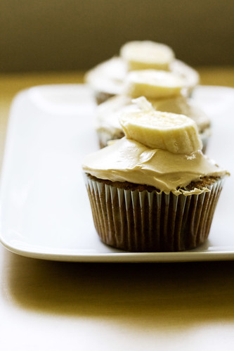 Banana Cupcakes + Peanut Butter frosting
