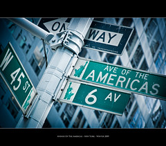 Avenue Of The Americas (Sebastian (sibbiblue)) Tags: street camera usa newyork sign nikon manhattan oneway avenue americas 6thavenue avenueoftheamericas 45thstreet 6av 18105mm nikond40
