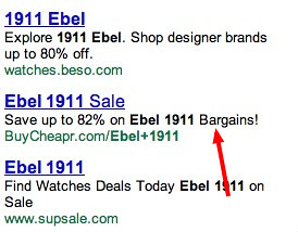 one line adwords ads