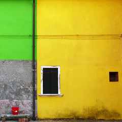 Lavorare stanca (DanielaNobili) Tags: red green window yellow wall square paint geometry venezia burano mywinners colorphotoaward lavorarestanca winner500 danielanob bestcapturesaoi bestofmywinners workingistiresome