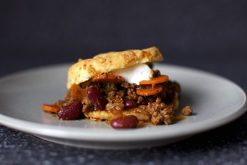 beef chili + sour cream cheddar biscuit