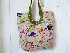 Pleated Bag (i think sew 1) Tags: bag handmade linen sewing craft fabric making kokka echino