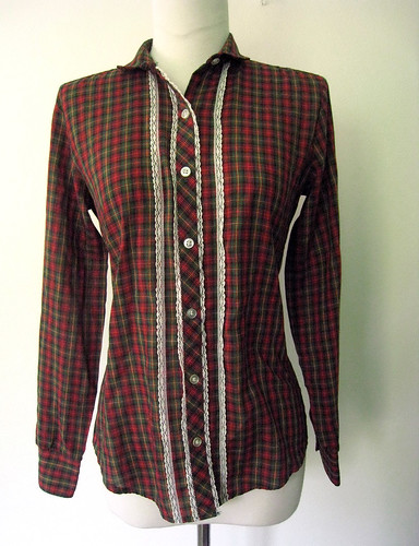 Plaid & Lace Blouse, 1970's