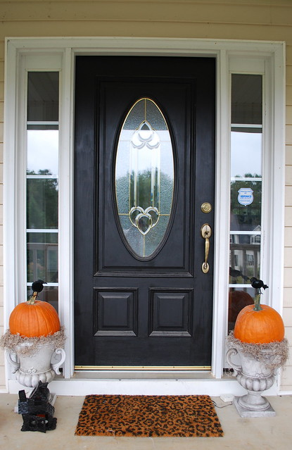 front door pumpkin decor