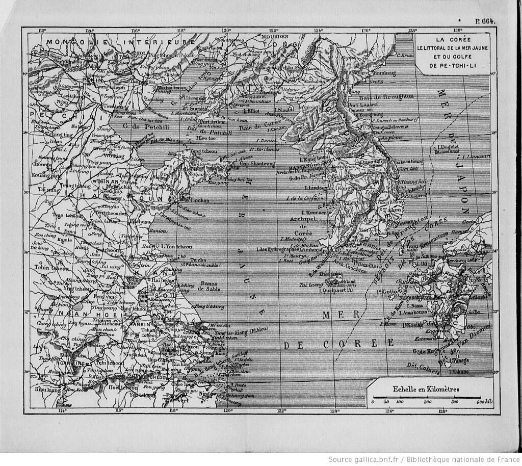 1893 L'Asie, choix de lectures de géographie... par M. L. Lanier_p644_La Corée, le littoral de la mer Jaune (carte en couleur)