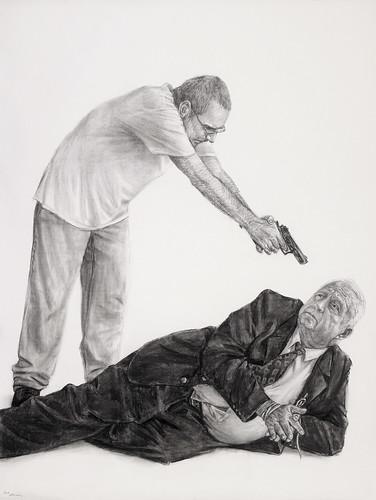 Auto-retrato matando Ariel Sharon