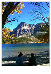 Two and a View (pwvisuals ) Tags: trees lake fall nature water leaves alberta rockymountains mountian iphone the4elements pwvisuals