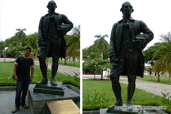Me beside a statue of Captain Francis Light
