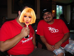 Sergio as Christina Aguilera and James at the Hearthstone Lounge