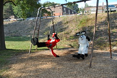 Fursuiters on the swings
