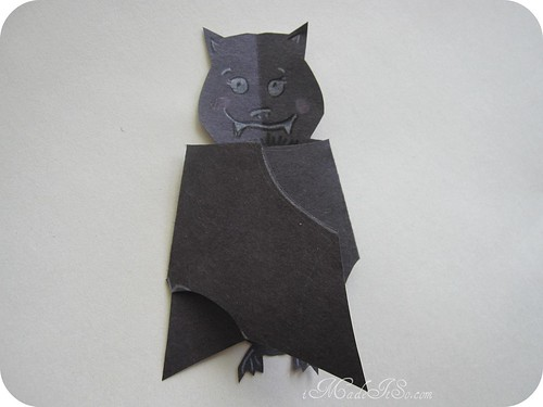 bat card with wings folded in imadeitso.com