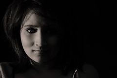 Nixi  (not me) (bhawi) Tags: light shadow portrait blackandwhite bw woman cute eye manchester nikon sensual halfface d60 nixi