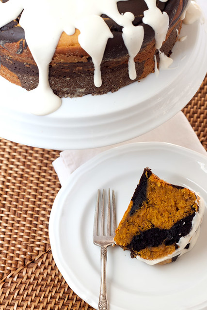 Chocolate-Pumpkin Marble Cake with Cream Cheese Glaze