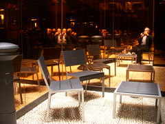 Courtyard smoking lounge at the Night Hotel, NYC